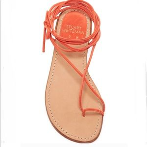 STUART WEITZMAN NIETA LACE UP FLAT SANDALS.